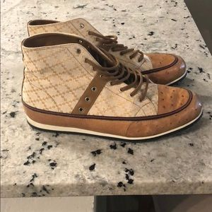 Gucci ostrich skin and canvas high top sneaker